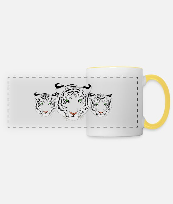 North Carolina Mugs & Drinkware - Tiger, white tiger, tiger trio - Panoramic Mug white/yellow