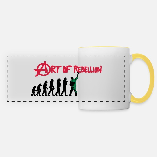 Rebellion Mugs et récipients - art de la rébellion - Mug panoramique blanc/jaune