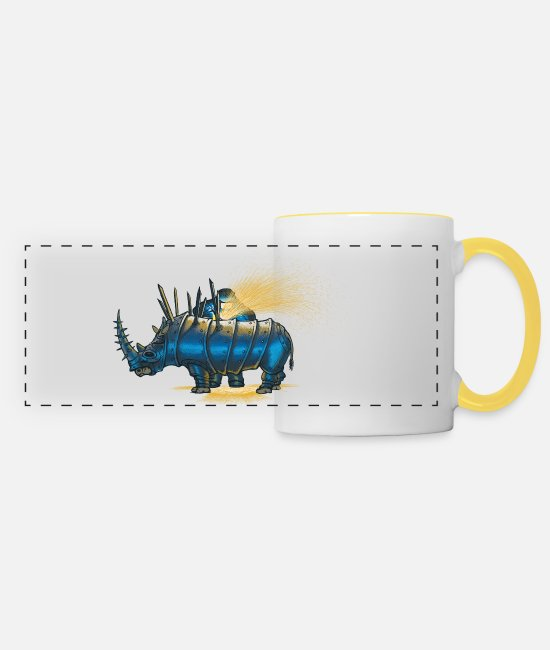 Animal Mugs & Drinkware - Saved rhino - Panoramic Mug white/yellow