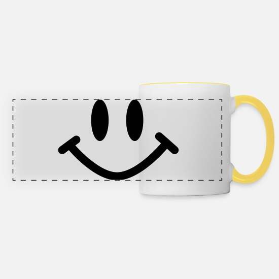 Mouth Mugs & Drinkware - smiley - Panoramic Mug white/yellow