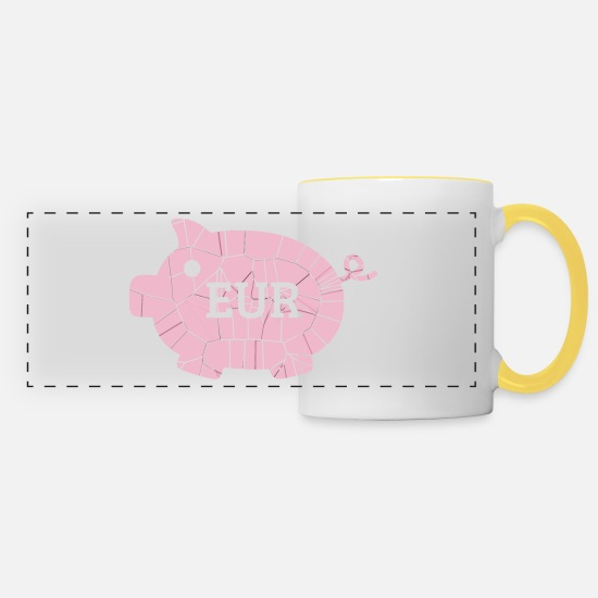Broken Mugs & Drinkware - Euro piggy bank - Panoramic Mug white/yellow