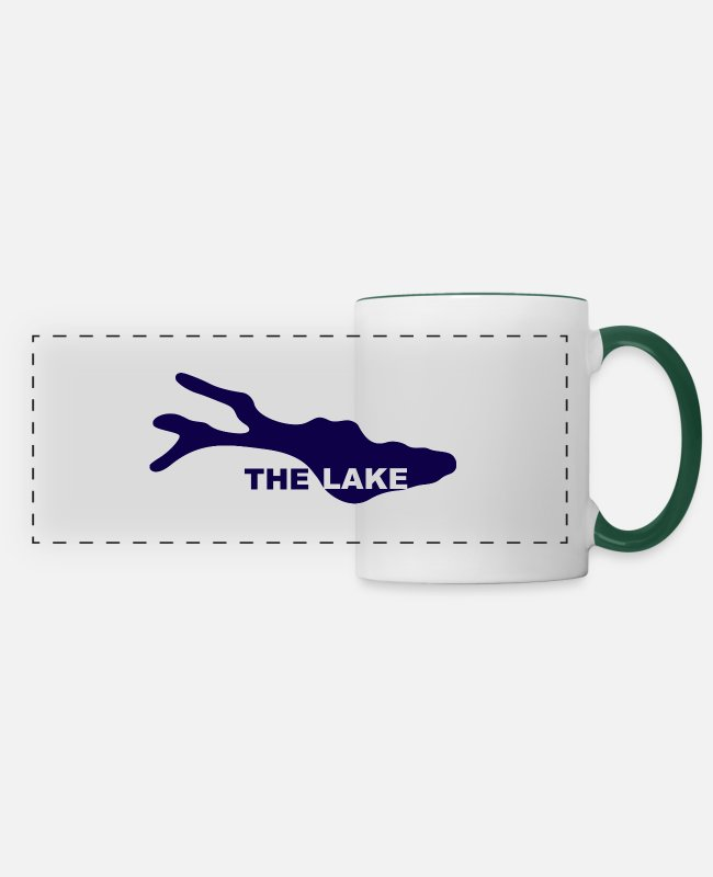 Water Mugs & Drinkware - THE LAKE - Panoramic Mug white/dark green