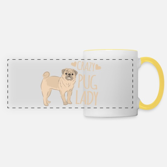 Small Mugs & Drinkware - crazy pug lady - Panoramic Mug white/yellow