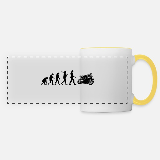Biker Mugs & Drinkware - Motorcycle Superbike Evolution Gift - Panoramic Mug white/yellow
