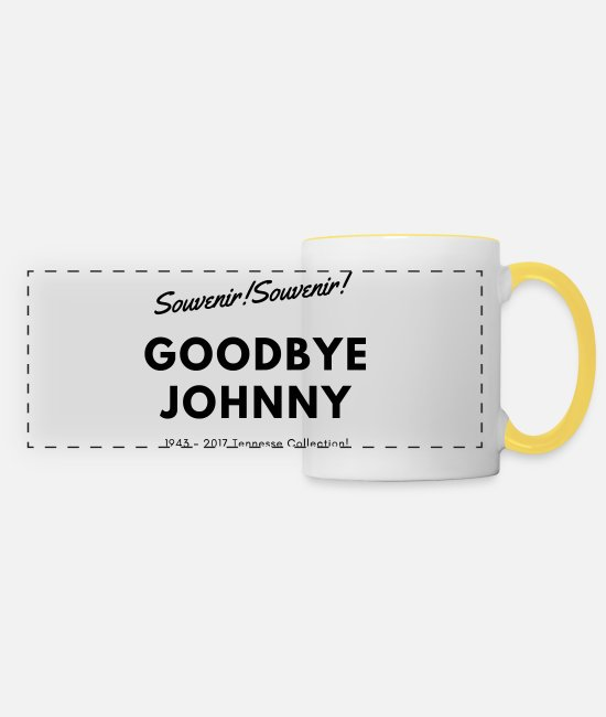 Johnny Hallyday Mugs et tasses - Souvenir! Souvenir! Johnny chanteur - Mug panoramique blanc/jaune