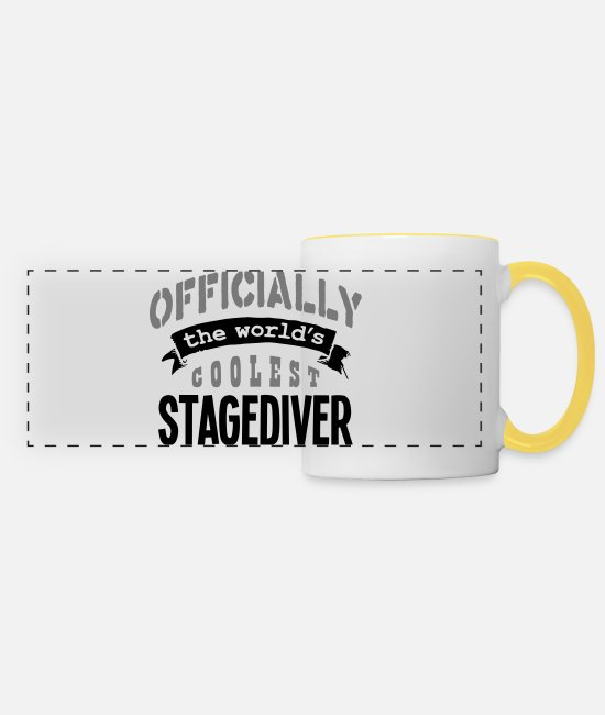The Office Mugs & Drinkware - stagediver officially the worlds coolest - Panoramic Mug white/yellow