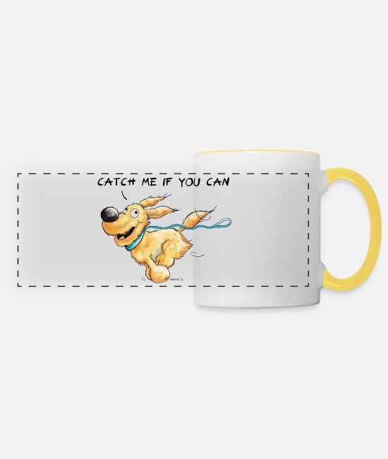 Drawing Mugs & Drinkware - Catch Me If You Can Dog - Panoramic Mug white/yellow