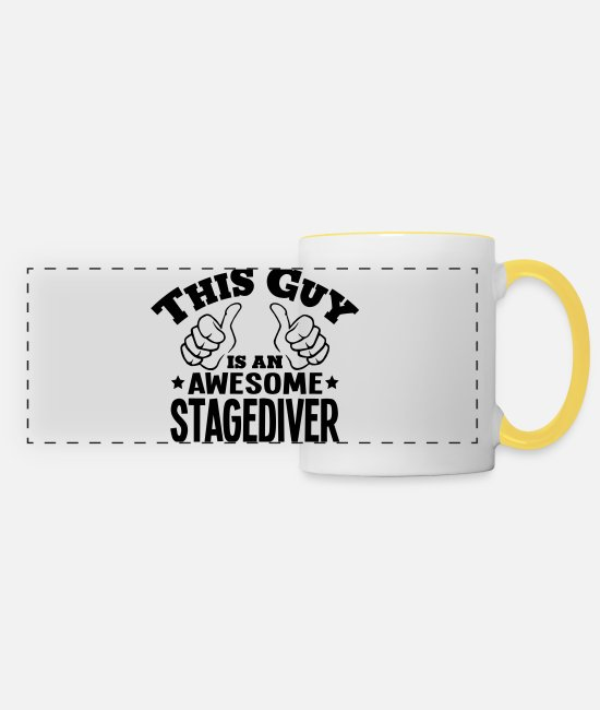 Water Mugs & Drinkware - this guy is an awesome stagediver - Panoramic Mug white/yellow