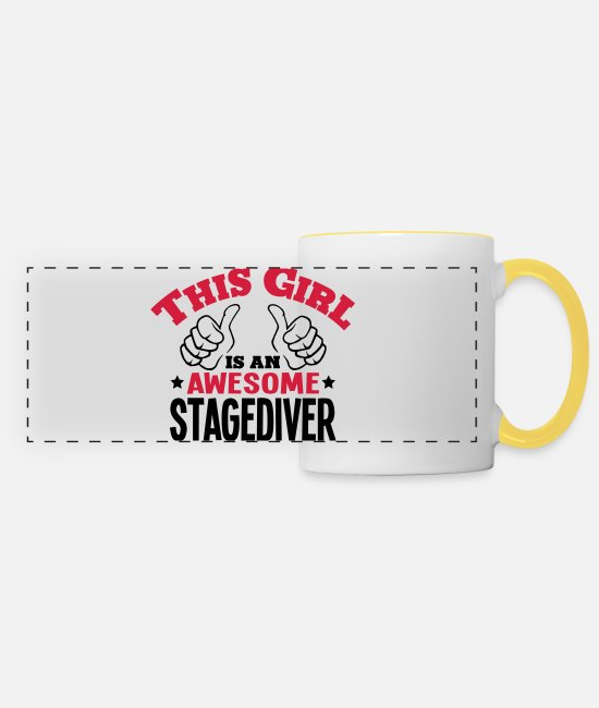 Awesome Mugs & Drinkware - this girl is an awesome stagediver 2col - Panoramic Mug white/yellow