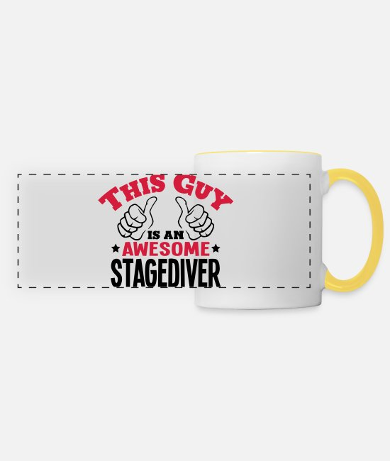 Water Mugs & Drinkware - this guy is an awesome stagediver 2col - Panoramic Mug white/yellow