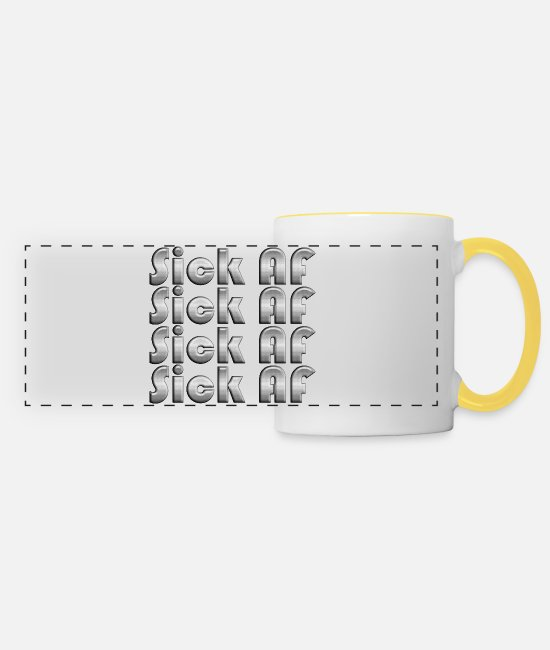 Quote Mugs & Drinkware - Repeatedly Sick AF - Panoramic Mug white/yellow