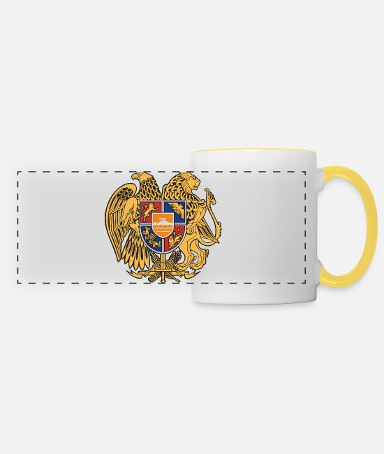 Armenia Mugs & Drinkware - Armenia emblem - Panoramic Mug white/yellow