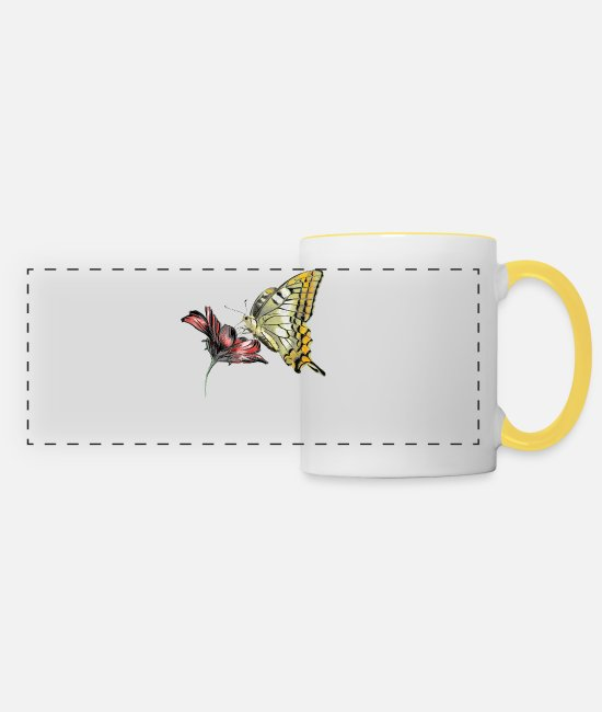 Bestsellers Q4 2018 Mugs & Drinkware - Butterfly - Panoramic Mug white/yellow