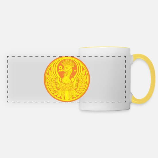 Plumage Mugs & Drinkware - The medal of the phoenix - Panoramic Mug white/yellow