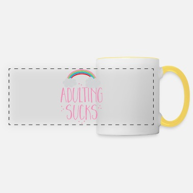 Weird Underwear adulting sucks with a rainbow (being an adult) - Panoramic Mug