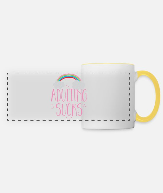 Adulting Mugs & Drinkware - adulting sucks with a rainbow (being an adult) - Panoramic Mug white/yellow