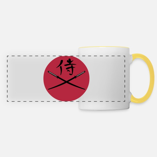 Warrior Mugs & Drinkware - Japanese Katana and Samurai Kanji - Panoramic Mug white/yellow