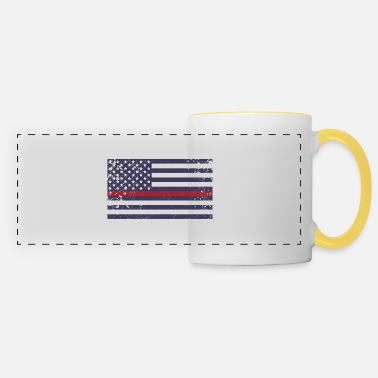 New Age Firefighter Thin Red Line Flag Retro Gift - Panoramic Mug
