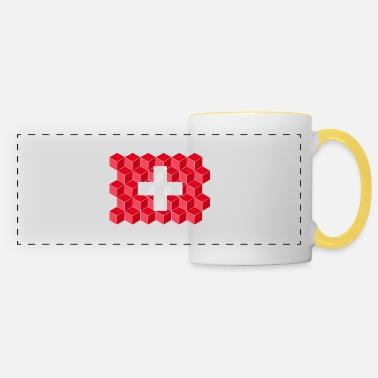 Cube Switzerland National Flag - cube 3D - Panoramic Mug