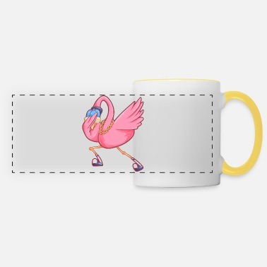Water dabbing flamingo funny party bird - Panoramic Mug
