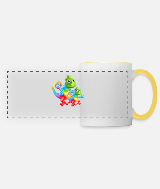 Pollution Mugs & Drinkware - chameleon rainbow - Panoramic Mug white/yellow