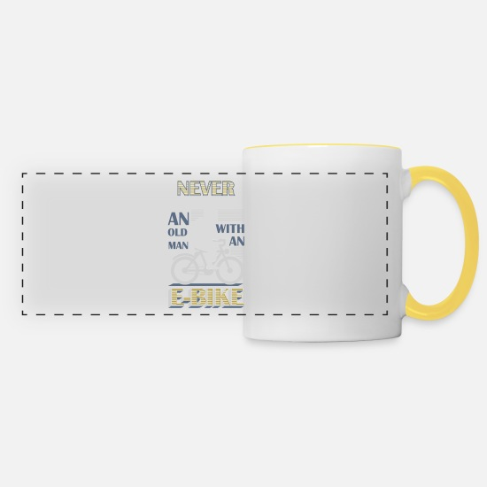 Bicycle Mugs & Drinkware - Never underestimate an old man with an EBike - Panoramic Mug white/yellow