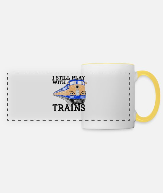 Training Mugs & Drinkware - Train Lover Gift Railroad Gift Still Play with - Panoramic Mug white/yellow