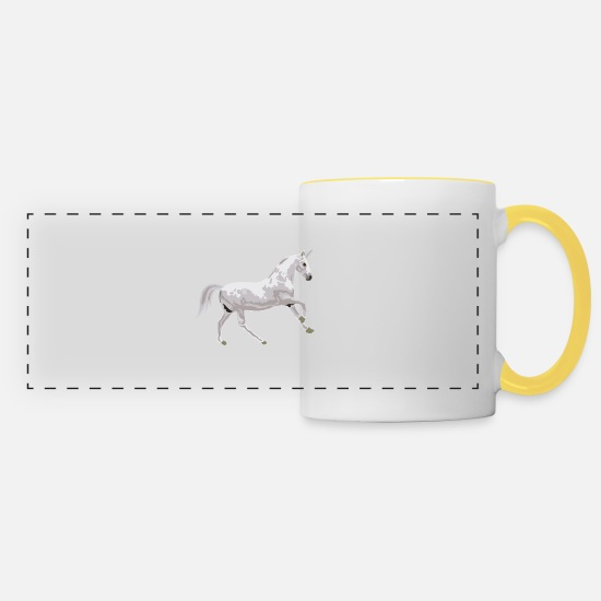 Gift Idea Mugs & Drinkware - Unicorn unicorn mythical creature mythical creature gift idea - Panoramic Mug white/yellow