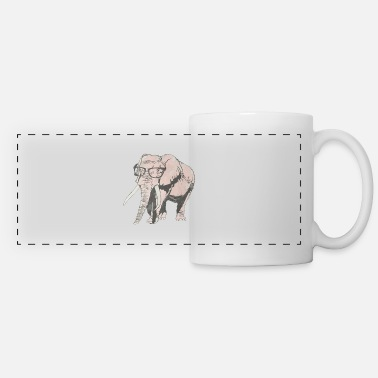 Elephant Elephant Wearing Glasses - Panoramic Mug