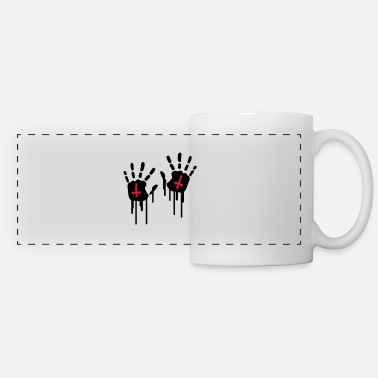 Hand Retreating Bloody Handprints - Panoramic Mug