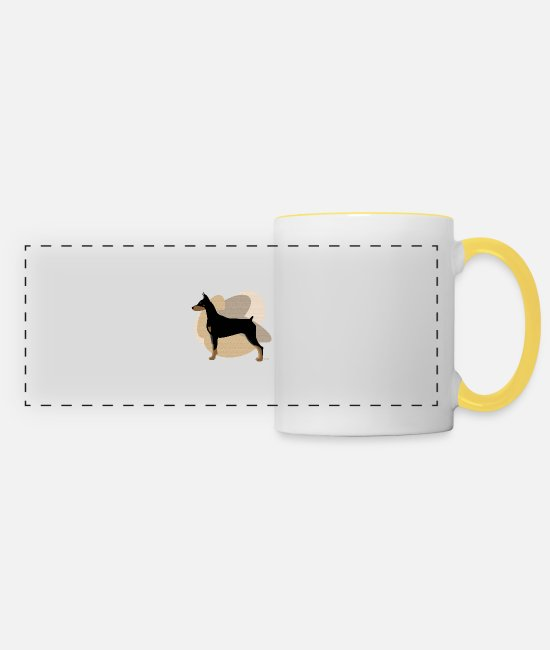 Purebred Dog Mugs & Drinkware - Dogs Collection by IxCÖ #Doberman - Panoramic Mug white/yellow