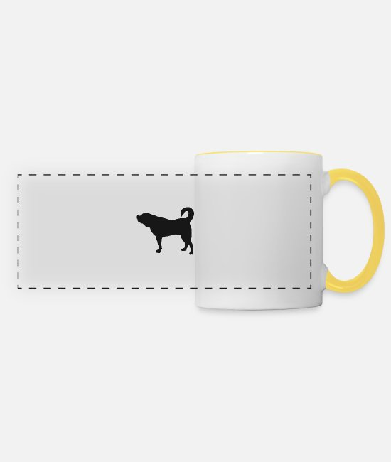Sweet Dog Mugs & Drinkware - Dog retriever pet german shepherd dachshund dogs - Panoramic Mug white/yellow