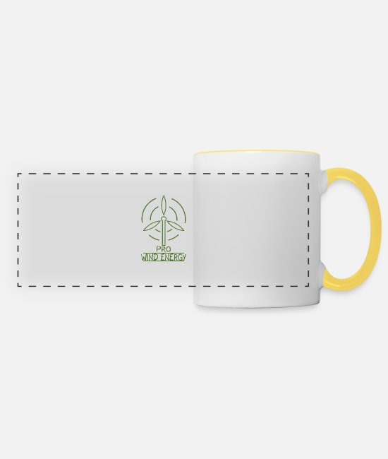 Earth Mugs & Drinkware - Wind energy wind turbine wind power renewable energy - Panoramic Mug white/yellow