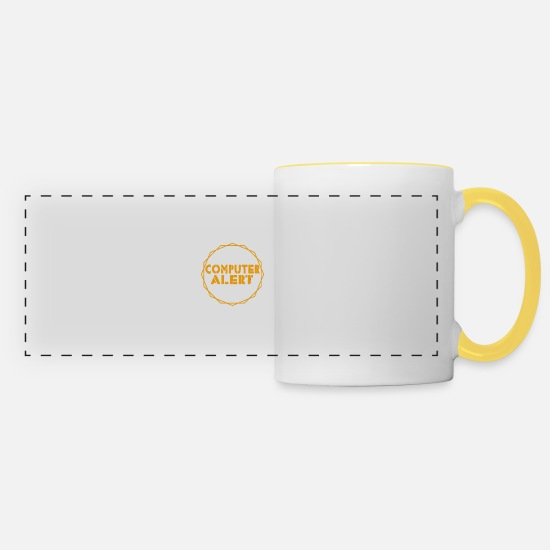 Alert Mugs & Drinkware - Computer alert - computer alarm - Panoramic Mug white/yellow