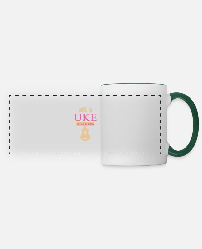 Hula Mugs & Drinkware - Glowing ukulele - ukulele - Panoramic Mug white/dark green