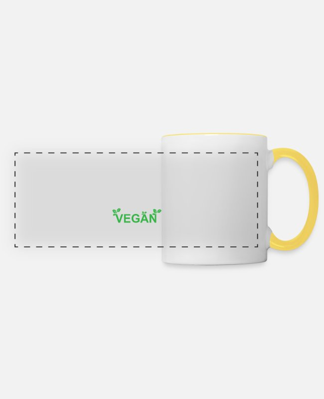 Animal Welfare Mugs & Drinkware - Keep Calm And Go Vegan - Green Vegan - Panoramic Mug white/yellow