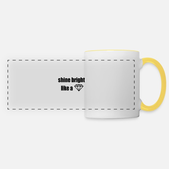 Jewelry Mugs & Drinkware - shine bright like a diamond, lyrics, lyrics - Panoramic Mug white/yellow