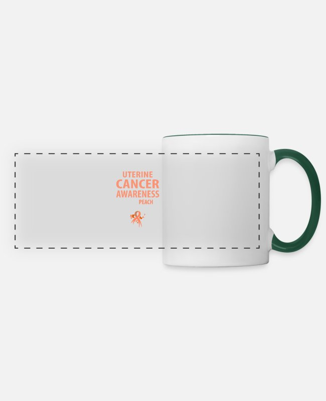 Cancer Survivor Mugs & Drinkware - I Wear Peach For Someone Special To Me - Panoramic Mug white/dark green