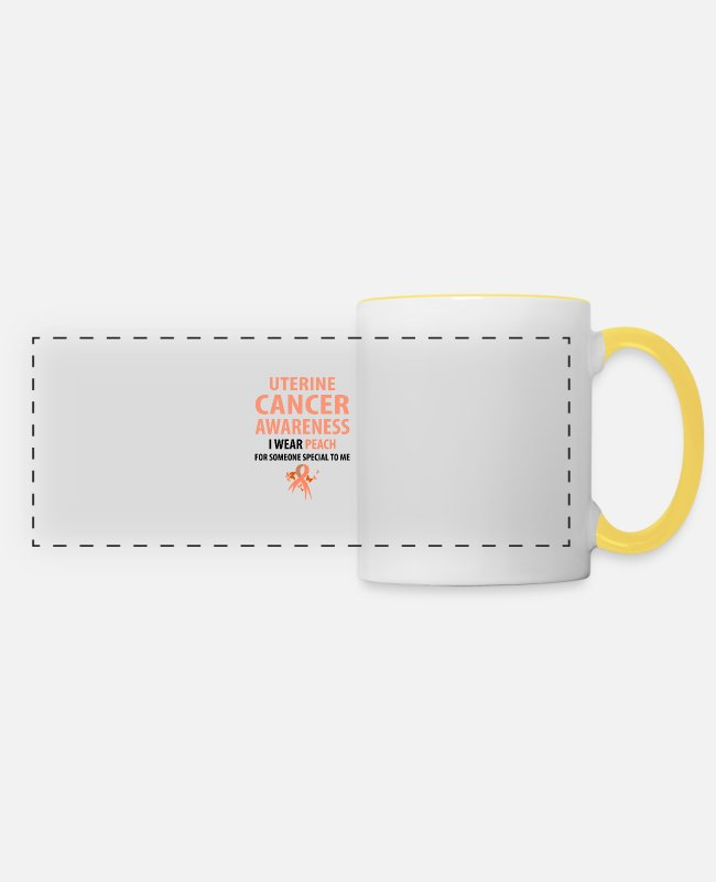 Cancer Survivor Mugs & Drinkware - I Wear Peach For Someone Special To Me - Panoramic Mug white/yellow