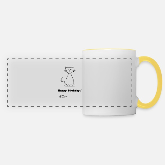 Gift Idea Mugs & Drinkware - Cat - happy birthday - Panoramic Mug white/yellow