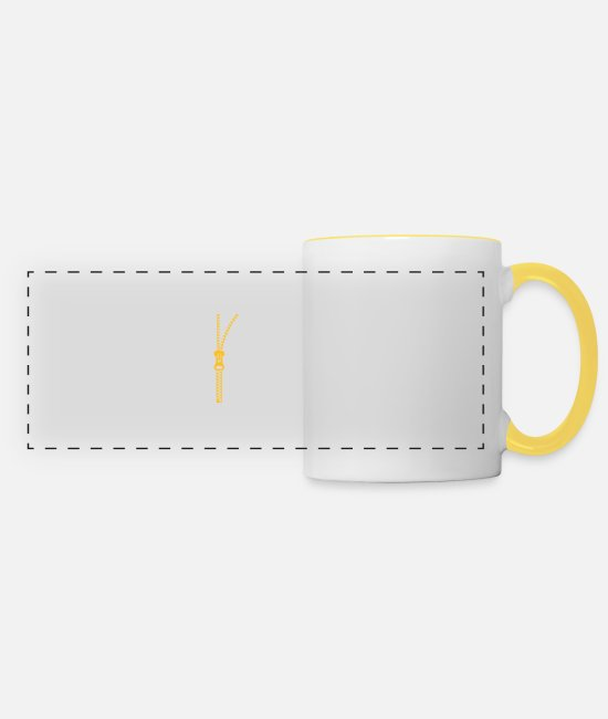 Wit Mugs & Drinkware - You Do Not Like My Clothes? Undress Me! - Panoramic Mug white/yellow