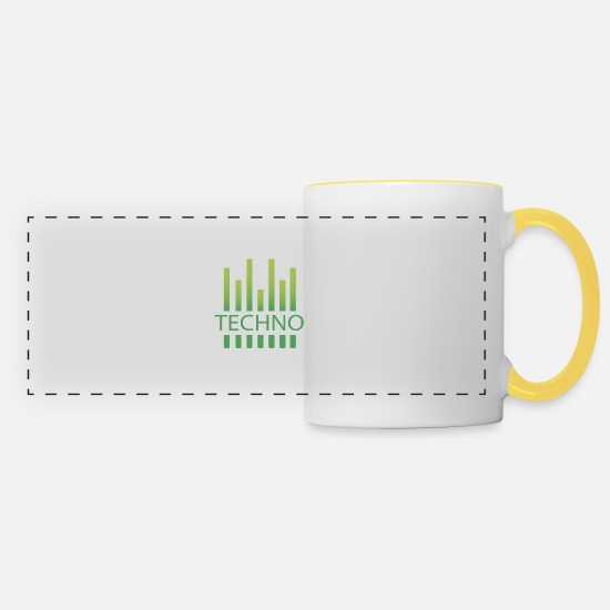 Music Mugs & Drinkware - Techno Rave Love Music Festivals Gift Trance - Panoramic Mug white/yellow