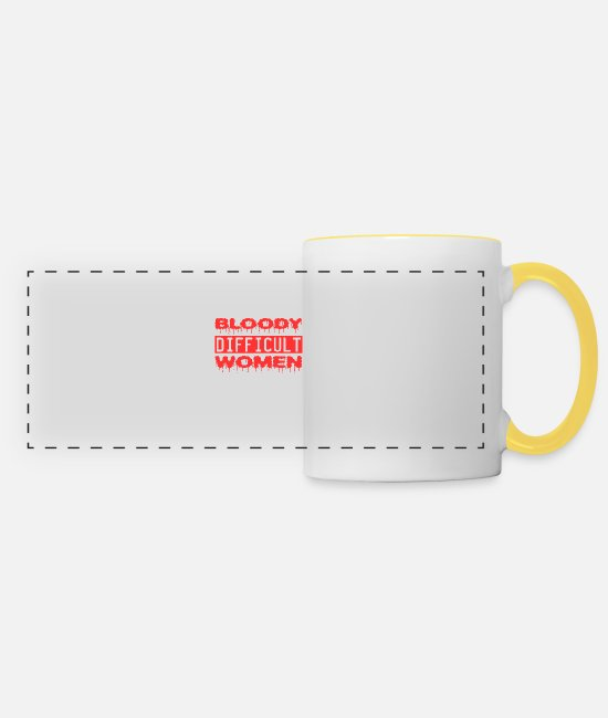 "Pain Mugs & Drinkware - A Nice Quote Tee For You ""Bloody Difficult Women - Panoramic Mug white/yellow"