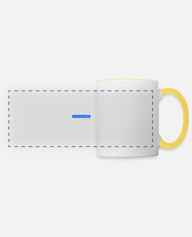 Hipster Mugs & Drinkware - To seen or not to seen - Panoramic Mug white/yellow
