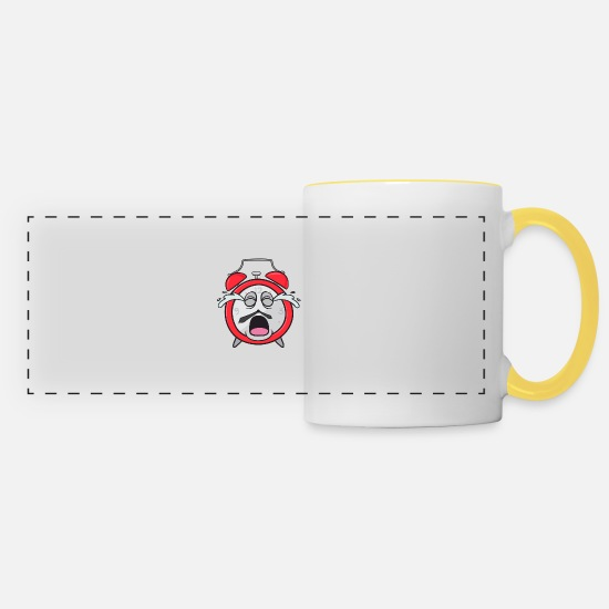 Broken Mugs & Drinkware - Alarm Clock - Panoramic Mug white/yellow
