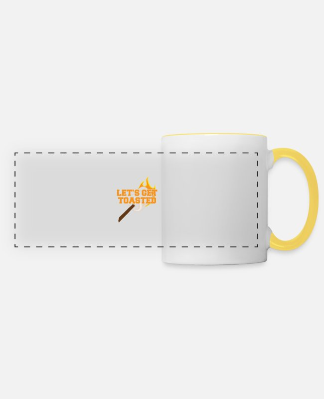 Tent Mugs & Drinkware - Camping, Caravan, Camping, Nature, Camping - Panoramic Mug white/yellow