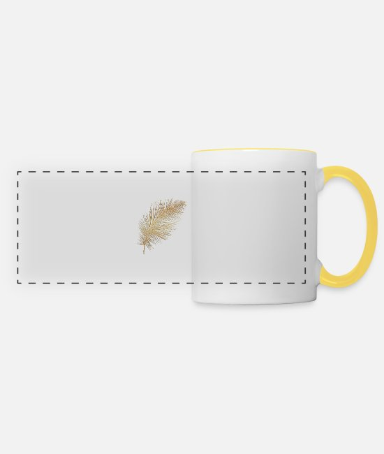 Nature Mugs et tasses - Plume or - Mug panoramique blanc/jaune