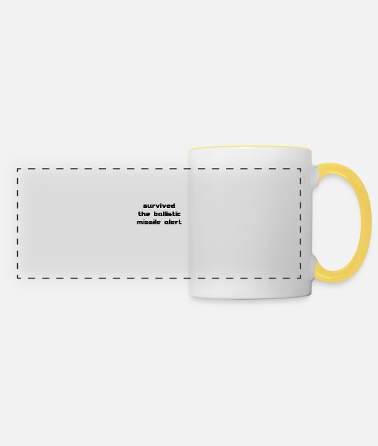 Missile Mugs & Drinkware - survived the ballistic missile alert - Panoramic Mug white/yellow