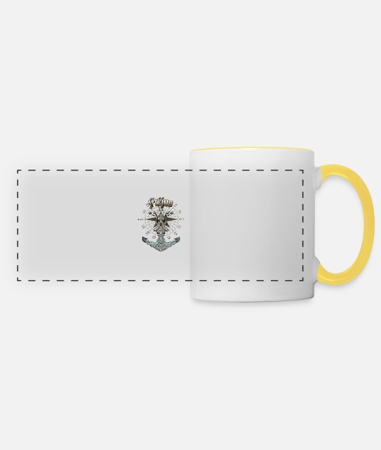 Diver Mugs & Drinkware - Fréjus Anchor Nautical Sailing Boat Summer - Panoramic Mug white/yellow