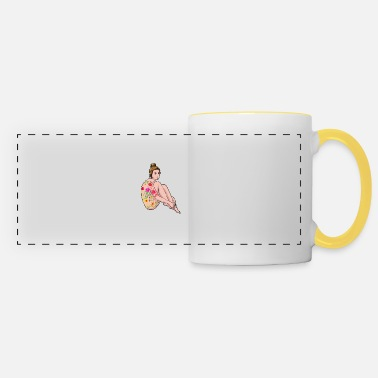 Naked Woman Sexy Girl Naked Woman with Boddy Tatto Flowers Retro - Panoramic Mug